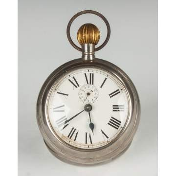 Nickel Plated Tin Pocket Watch Form Alarm Clock