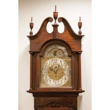 Colonial Revival Figured Mahogany Clock