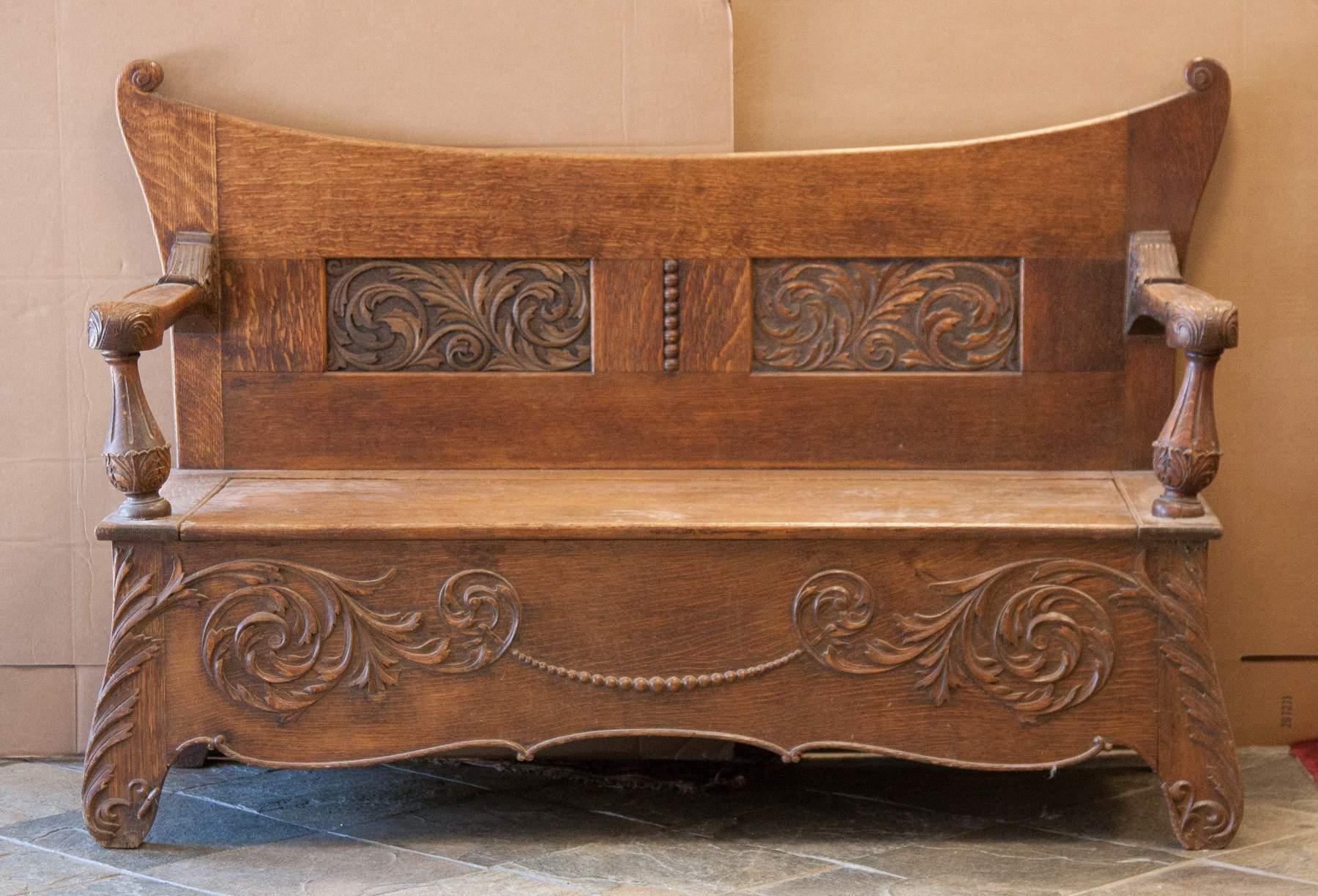 Carved Oak Art Nouveau Bench