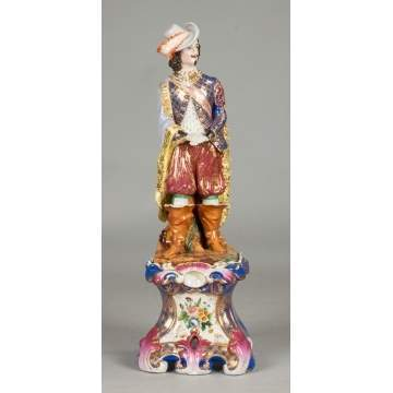 French Hand Painted Porcelain Musketeer on Stand