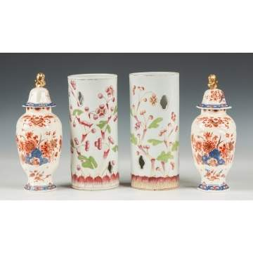 Chinese Wig Stands & Delft Vases
