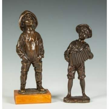 Two Bronze Sculpture of Boys