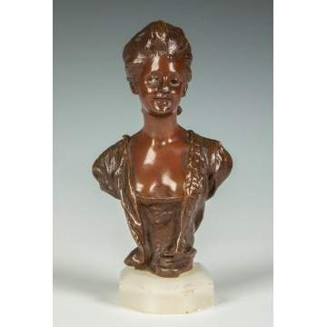 George Van der Straeten (French, 1856-1928) Bronze of a Lady