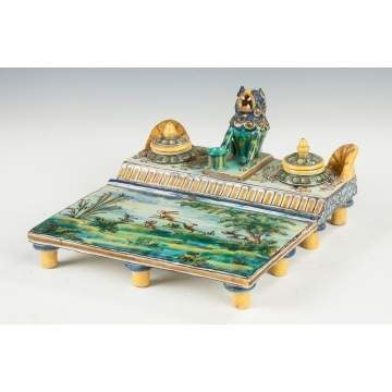 Majolica Continental Ink Stand