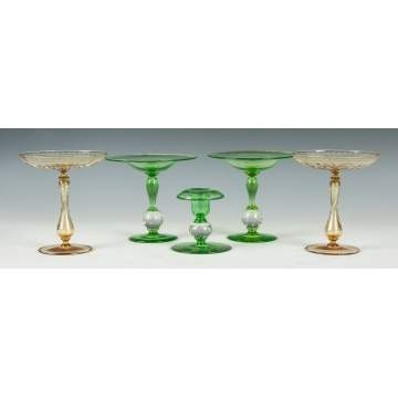 Two Pairs of Compotes & a Candlestick