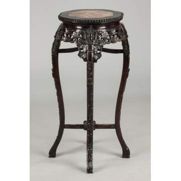Chinese Carved Hardwood Stand with Soapstone Top