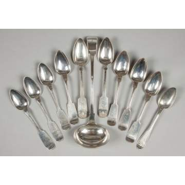 Group of Coin Silver Serving Spoons and a Silver Plate Ladle