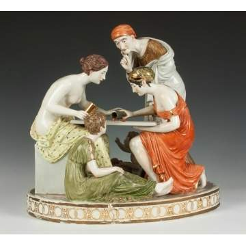 Porcelain Figural Group with Dice Players