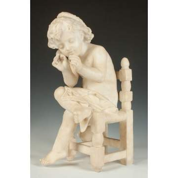 Italian Alabaster Sculpture of a Young Girl in Chair