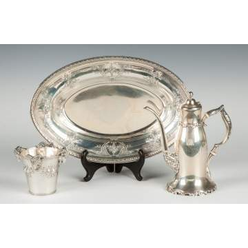 Sterling Silver Cup, Tray & Chocolate Pot