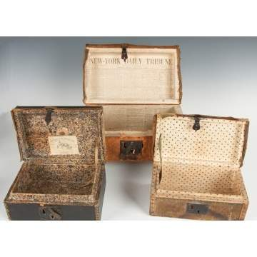 Three Brass-Tacked & Leather Boxes