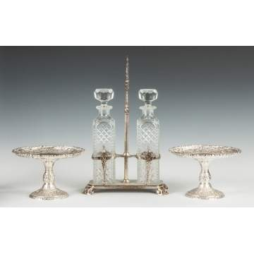 Silver Plate Repousse Tazzas & a Silver Plated Decanter Set with Etched & Cut Glass Bottles