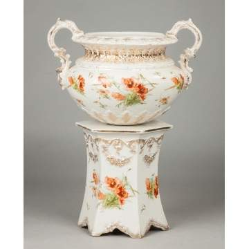 The Wheeling Pottery Co. Porcelain 2-Piece Jardiniere with Poppies