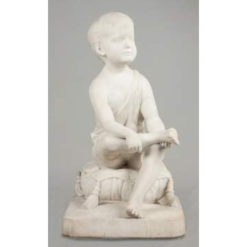 J. Guernsey Mitchell (New York, D. 1921) Marble Sculpture of a Seated Young boy