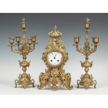 French Cast Brass 3-Piece Clock Set