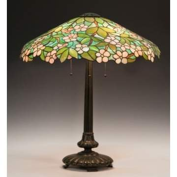 Seuss Leaded Glass Lamp Shade with Apple Blossoms