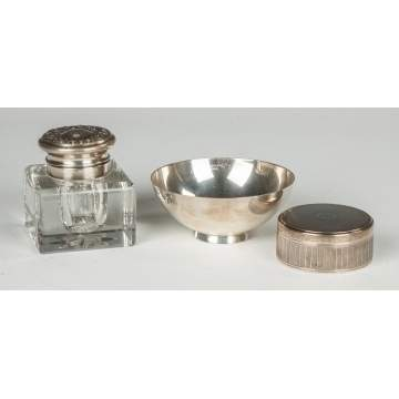Sterling & Cut Glass Inkwell
