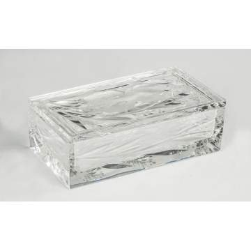 Hawkes Cut & Engraved Glass Covered Box with Iris