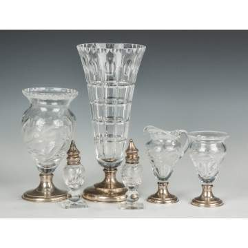 Group of Engraved Hawkes Glassware with Sterling Bases