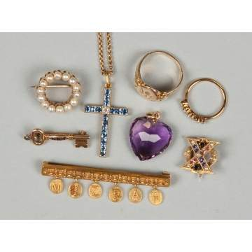 Group of Vintage Gold Pins, Rings & Pendants