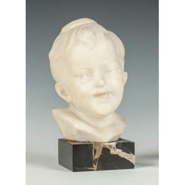 Carved Marble Head of a Boy