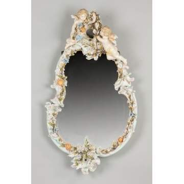 Porcelain Mirror With Cherubs & Flowers