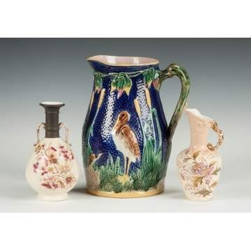 Majolica Pitcher with Heron & Cattail