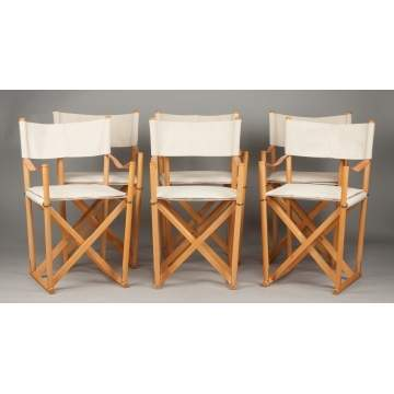 Mogens Koch, Interna, Denmark, Vintage Set of Six Folding Chairs with Stand