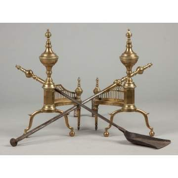 Pair of NY Brass Andirons with Shovel & Tongs