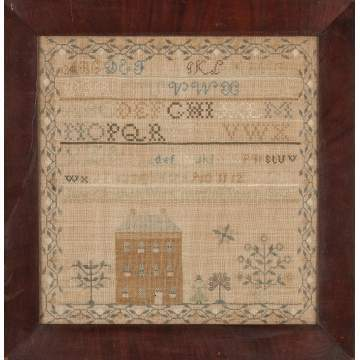 American Needlework with House, Figures & Flowers