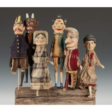 Six Carved & Painted Punch & Judy Puppets