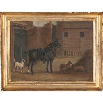Horse and Dogs near Stable