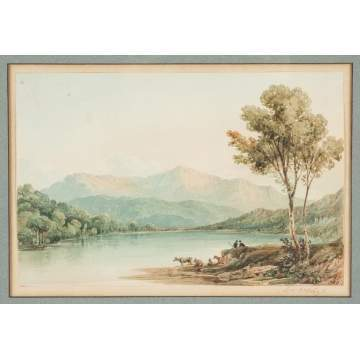 Old Master's Landscape & William Young Ottley (English, 1771-1836) Mountain Lake Scene