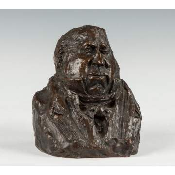 "After Honore Daumier (French, 1808-1879) ""The Egotist"" Bronze Bust"