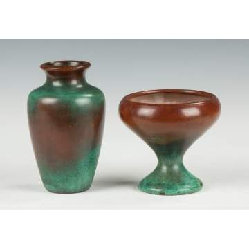 Two Clewell Copper Clad Art Pottery Vases
