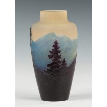 Galle Cameo Vase, Landscape with Mountains