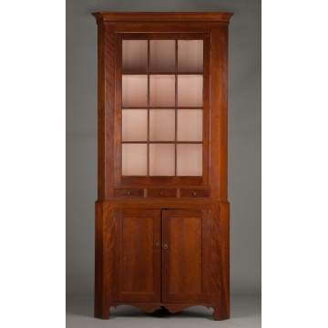Two-Piece Cherry New England Corner Cupboard