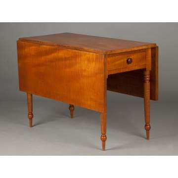 Country Sheraton Tiger Maple Drop Leaf Table with Drawer
