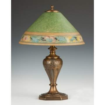 Pairpoint Reverse Painted Lamp with Floral Border