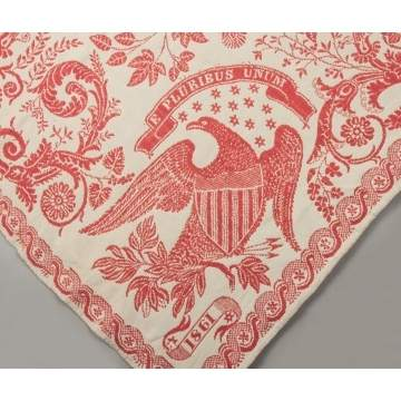 Red & White Coverlet with Eagle