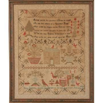 Sampler with Birds, Flowers & Houses