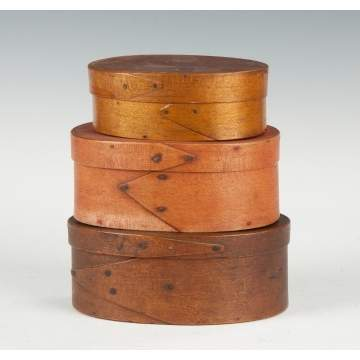 Group of Three Oval Pantry Boxes