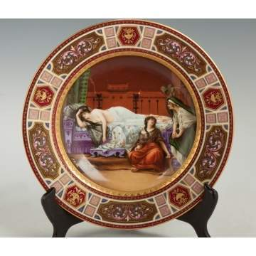 "Vienna Hand Painted & Enameled Porcelain Plate, ""Cleopatra"""