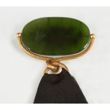 Chinese Spinach Jade 14K Gold Watch Fob with Dragon