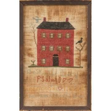 Sampler with a Red Brick House