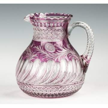 Fine & Rare Stevens & Williams Amethyst Cut to Clear Glass Pitcher