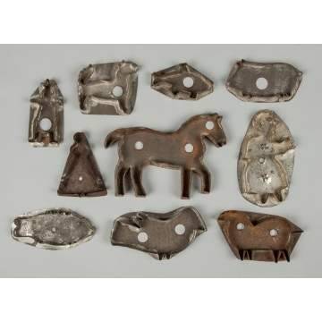 Group of Ten Tin Cookie Cutters