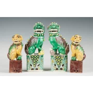 Two Pair of Chinese Porcelain Foo Dogs