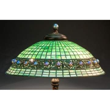 Rare Tiffany Studios Leaded Glass, Bronze & Glass Ball Lamp
