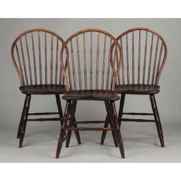 Set of Three New England Hoop Back Windsor Side Chairs